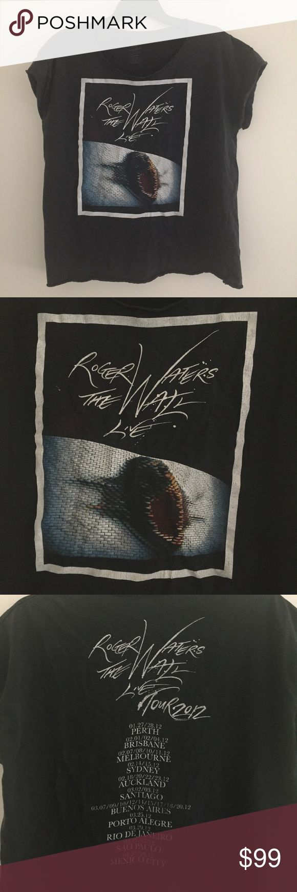 Vintage Roger Waters The Wall Pink Floyd tshirt 2012 official tour shirt. Originally a men's size Large shirt cut into a feminine women's XL. Heavyweight cotton tee with distressed broken-in details. Faded black color and very cool. Tops Tees - Short Sleeve