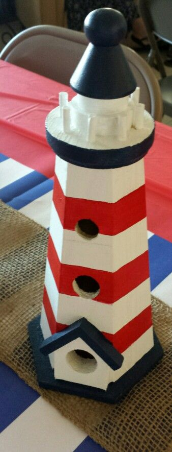 Nautical decorations made from lighthouse birdhouses