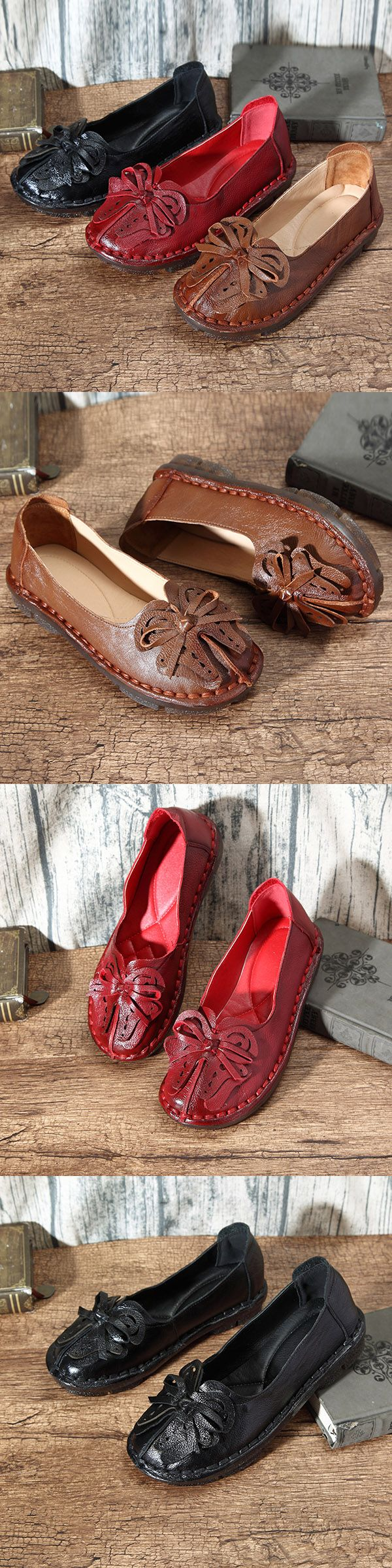 US$33.31  SOCOFY Bowknot Leather Soft Slip On Flat Vintage Loafers