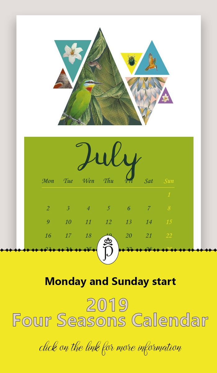 2019 Yearly Botanical Illustrated Calendar Monthly Desk And Wall