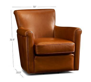 Williams Sonoma Home: Irving Leather Swivel Armchair