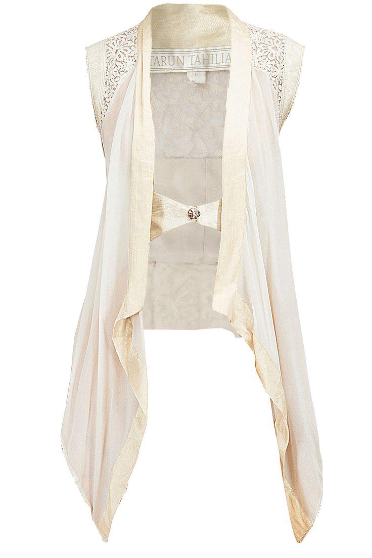 Ivory pristine art layered gillet by TARUN TAHILIANI. Shop now at perniaspopupshop.com #perniaspopupshop #clothes #womensfashion #love #indiandesigner #tarun tahiliani #happyshopping #sexy #chic #fabulous #PerniasPopUpShop #ethnic #fun