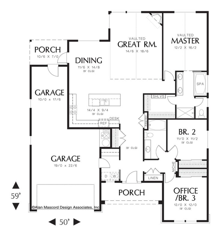 One Story Craftsman Plan Plan 1152 The Buckner Is A 1797