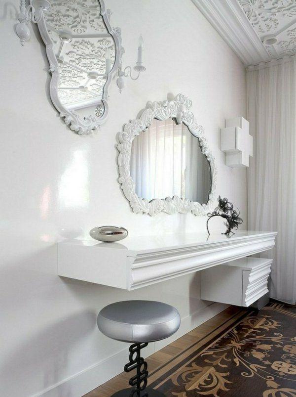 Белый туалетный столик в стиле барокко