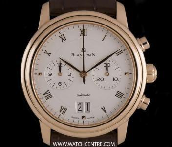 #Blancpain 18k Rose Gold Silver Roman Dial #Villeret #Chronograph 6885 3642 55B