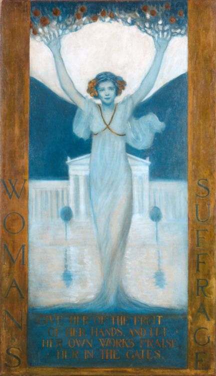 Evelyn Rumsey Cary 'Woman's Suffrage', 1905. The creator of this iconic image — which appeared not only as a poster but also on magazine covers and in pamphlets — was Evelyn Rumsey Cary (1855-1924), a painter from Buffalo, New York. The poster features an idealized woman, dressed in a flowing white gown, whose body is transforming into a tree.