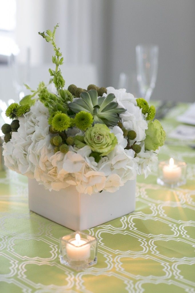 Centerpiece of white hydrangeas succulents and green
