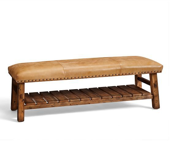 Caden Equestrian Upholstered Bench, Leather Item: 8019853 Quantity: 1 Price: $899 each