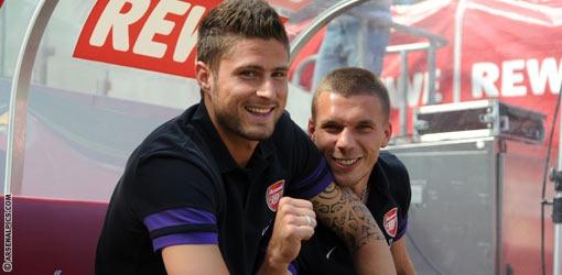 Olivier Giroud and Lukas Podolski