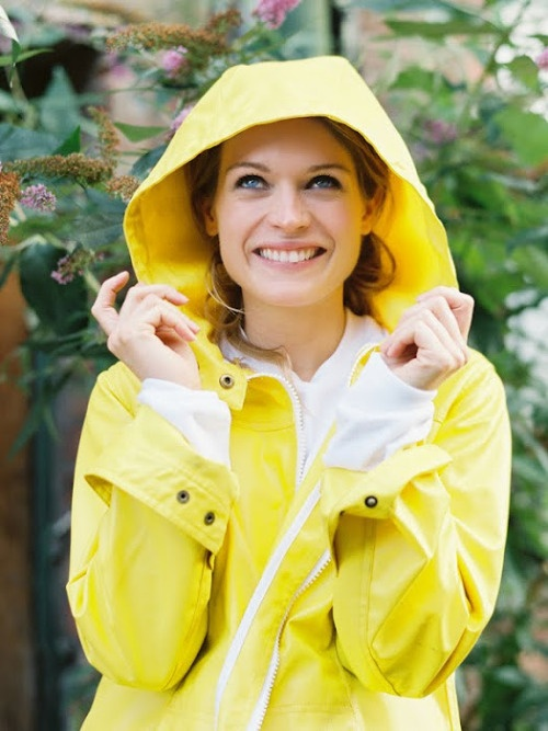 bright yellow raincoat