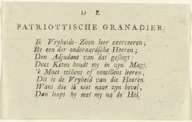 Vers bij de Patriotse Grenadier, anoniem, 1787