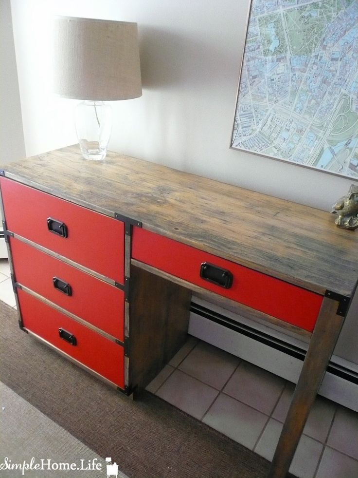 Simple Home Life: Campaign Desk In Vermillion Red & Classic Gray