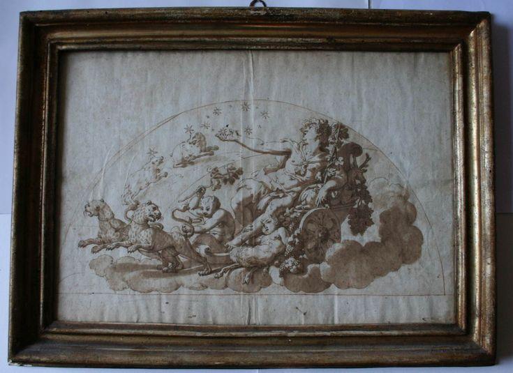 Annibale Carracci (?) Bacco sul carro trionfale  Disegno a inchiostro su carta, montato su cornice settecentesca con vetro antico, misure del foglio mm 270×400