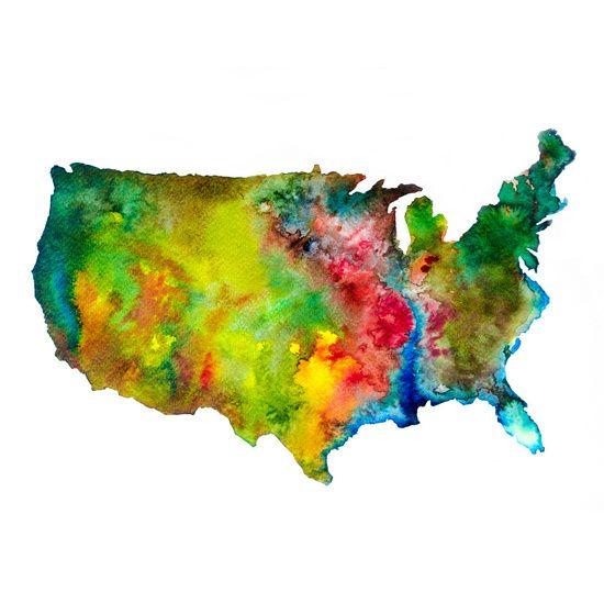 Nieuw in mijn Werk aan de Muur shop: USA Abstracte landkaart / USA Abstract Map.