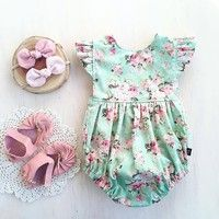 Wish | Newborn Infant Baby Girl Romper Floral Bodysuit Sunsuit Summer Clothes Outfits