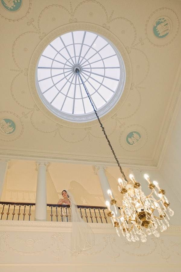 Looking up to our bride by the domed skylight, from the Grand Staircase.