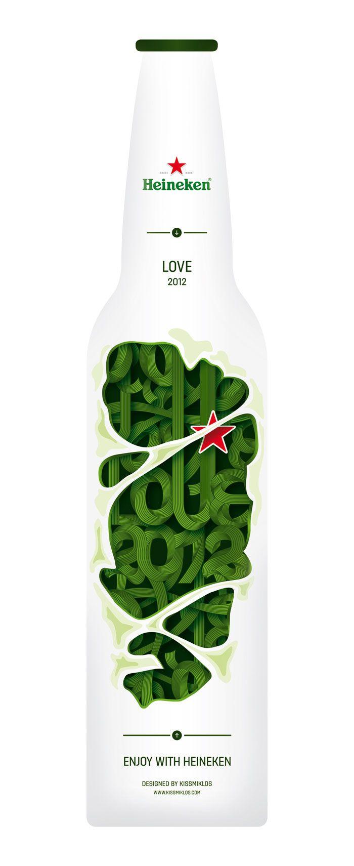 botella de heineken rechula via the Dieline: Design Inspiration, Heineken Bottle, Packaging Design, Bottle Packaging, Beer Packaging, Beer Bottle, Design Concept, Beer Design, Bottle Design