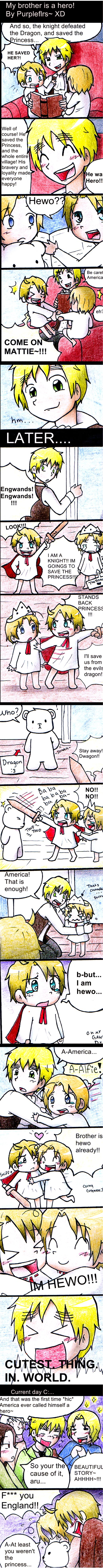"My brother is a hero! by purpleflrs.deviantart.com on @deviantART - lol This is adorable - and really funny, too! ""At least you weren't the princess."" Ah, Mattie, what would we do without you and your dry sense of humour? And little Alfred is just so cute!"