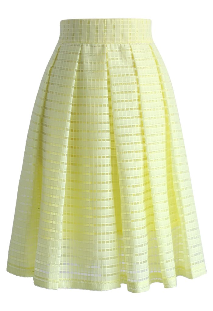 Grids and Pleats Midi Skirt in Yellow - New Arrivals - Retro, Indie and Unique Fashion