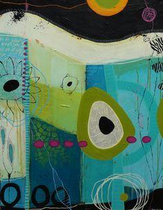 Janne Jacobsens tidligere værker. Flotte farverige malerier i forskellige størrelser med kontraster, små skriverier og små snirkler og forme.