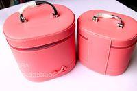 Cosmética bolsa grande 2pcs Caso Capacidad 2014 Venta de la Mujer la venta directa en 1set del color del caramelo de la PU Caja de maquillaje a prueba de agua 1set / lot