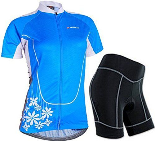Sponeed Women's Cycle Jersey Bike Clothing Gel Padded Short Sleeve Mysteriousness Size L US Blue - http://ridingjerseys.com/sponeed-womens-cycle-jersey-bike-clothing-gel-padded-short-sleeve-mysteriousness-size-l-us-blue/