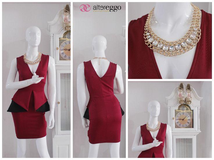 #moda #fashion #otoño #invierno #2014 #nueva #temporada #nueva #coleccion #NewCollection #moda #para #chicas #vestido #peplum #borgoña #negro #tinto #vino #sangria #collar #dorado