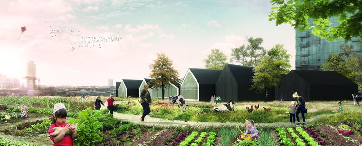 """""""Nursery Fields Forever"""" Reconnects Early Childhood Education with Nature,Exterior Rendered View. Image Courtesy of Johnathan Lazar"""