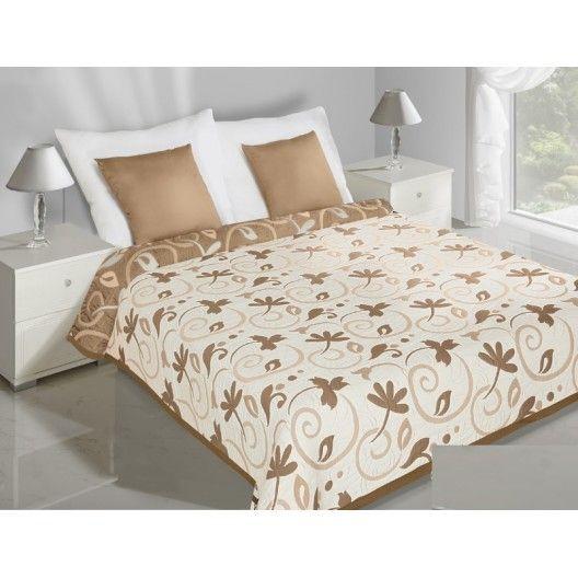Krémový prehoz na posteľ obojstranný s béžovými lístočkami