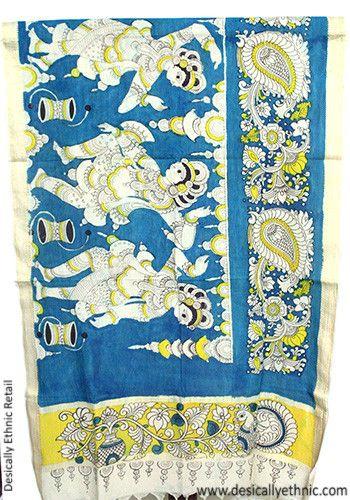Kalamkari Dupatta – Desically Ethnic  #kalamkari #handpainted #dupatta