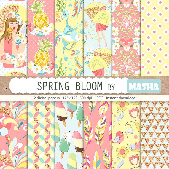 Spring digital papers: SPRING BLOOM PAPERS with by MashaStudio #spring #digital #paper #colorful #pattern #summer #papers #pineapple #ice #cream #pink #mint #yelloow #images #whimsical #digital #download #sticker #supplies #etsy #success