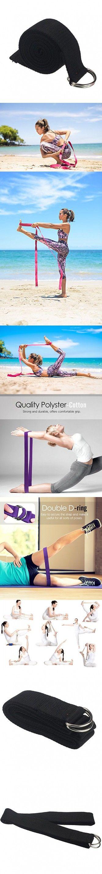 Yoga Straps Emubody 6ft Cotton Fitness Exercise Yoga Strap Yoga Belt D Ring (Black, 6FT)