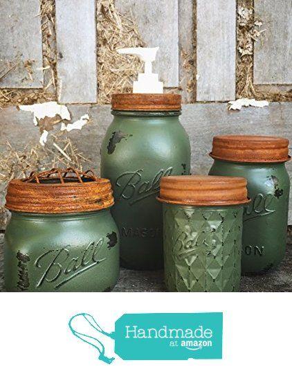 Mason Jar, Country, Farmhouse, Rustic, Primitive, Shabby Chic Olive Green Bathroom Set Home Decor and Soap Dispenser from FarmhouseReverie https://www.amazon.com/dp/B01N2IV1JP/ref=hnd_sw_r_pi_dp_hosFybTYC4W7W #handmadeatamazon