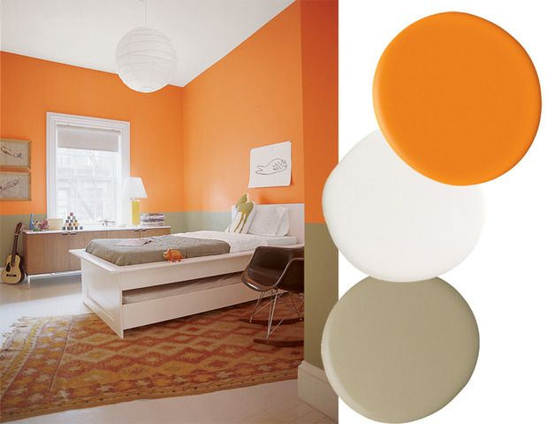 """best paint color combinations tangerine, white, & camel Far less expected than the typical pairings. This trio is adaptable to a range of styles and is totally gender neutral. Paint color (wall bottom): """"Providence olive"""" by Benjamin Moore Paint color (wall top): """"Calypso orange"""" by Benjamin Moore Paint color (trim): """"White semigloss finish"""" by Benjamin Moore"""