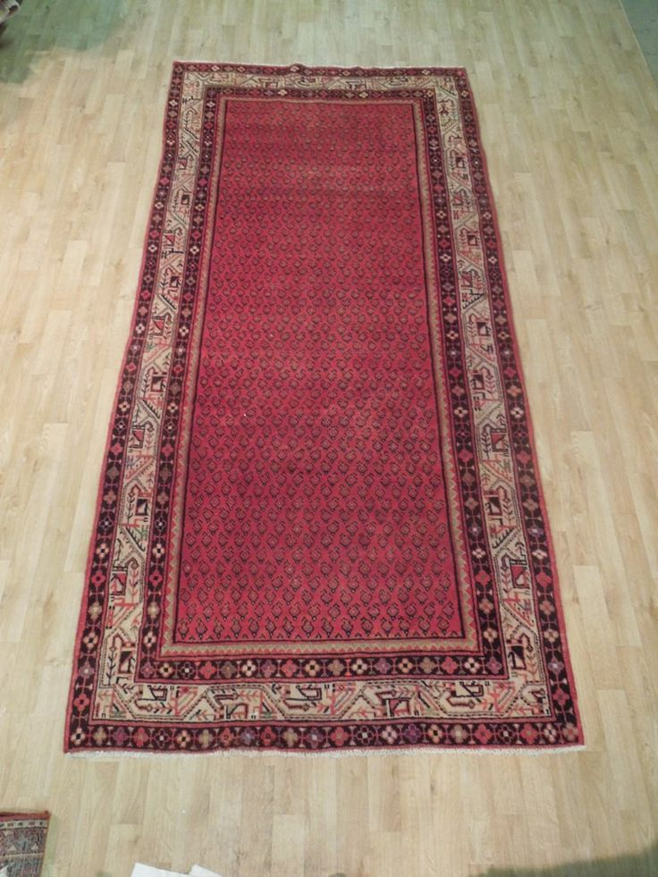 Red Peisley Hand Knotted 5' x 11' Persian Mir Runner Rugs for Sale online