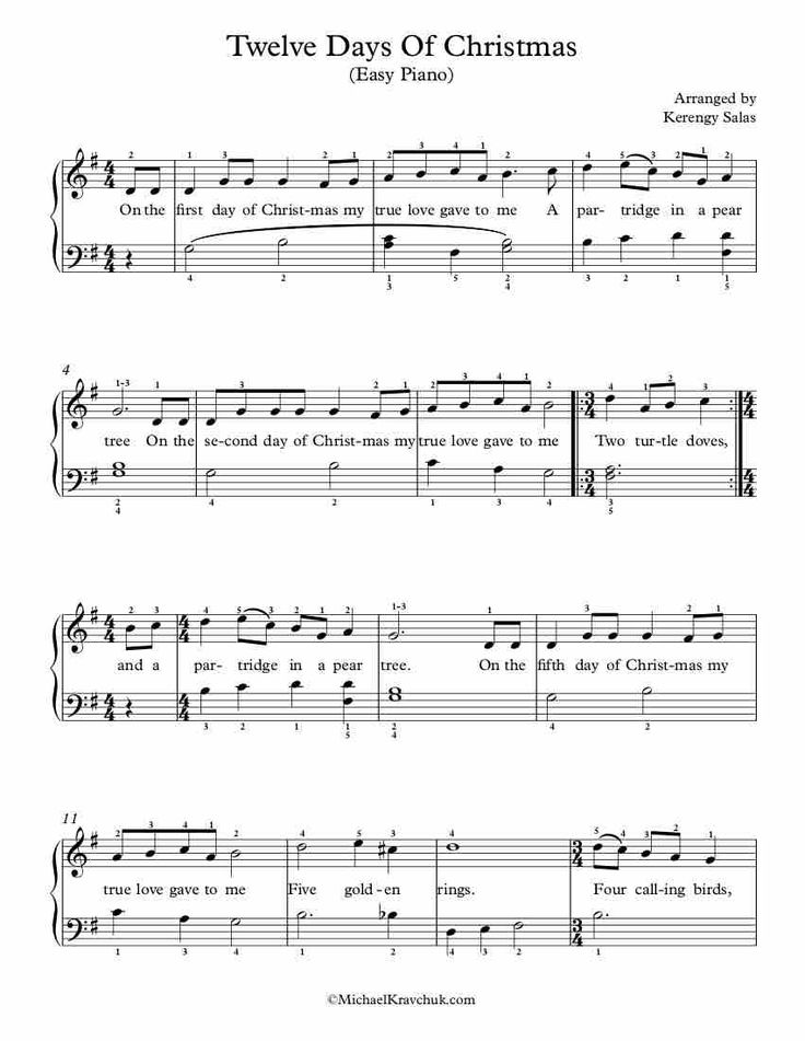 Easy Piano Arrangement Sheet Music – Twelve Days Of Christmas | Sheet music, Free piano, Free ...
