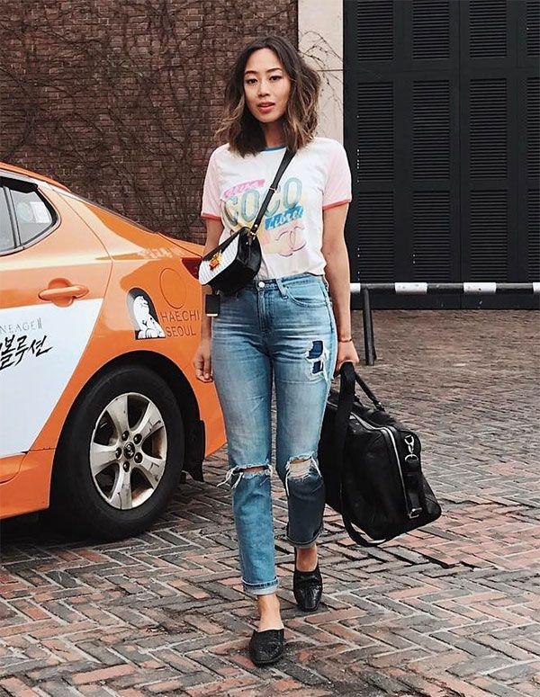 Camisa + calça jeans + bolsa