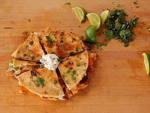 Pepper-Shrimp Quesadillas : Ree prepares ample quesadillas loaded with shrimp, bell peppers and cheese.