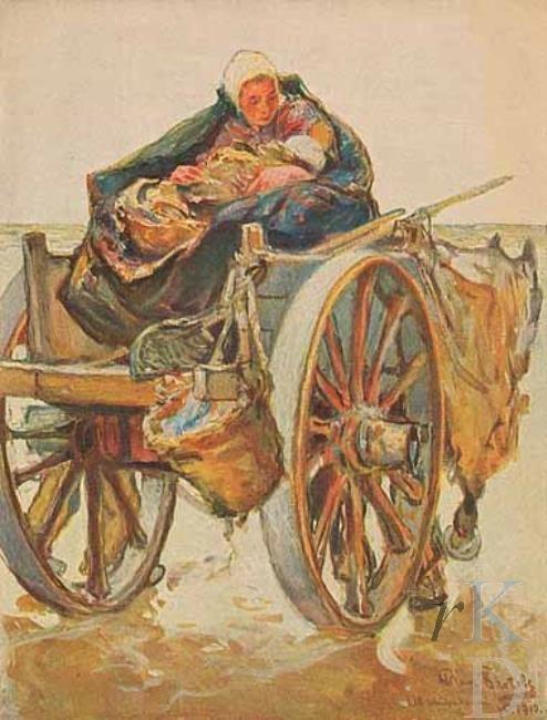 Hans von Bartels Moeder en kind op een schelpenkar, 1910 Katwijk #ZuidHolland #Katwijk