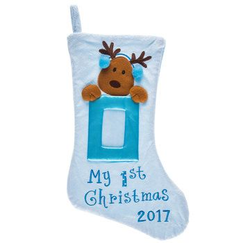 First Christmas Blue Stocking with Reindeer Photo Frame