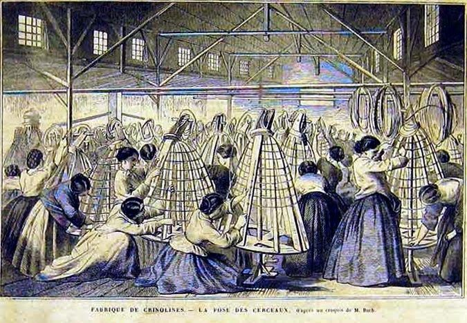 Ca.1860. Manufacture of crinolines. Unknown French publication. [jrb]
