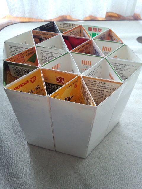 ☆YuM's(ユンズ)の手作りlife☆:牛乳パックで作る布箱(カルトナージュ)