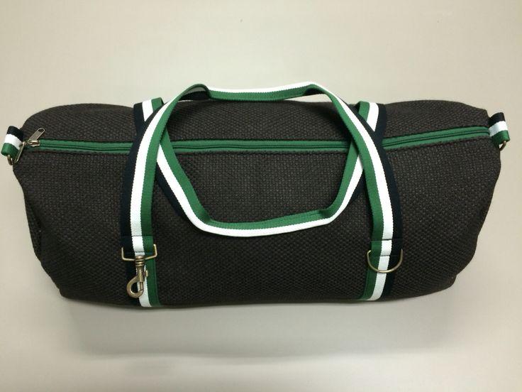 mod.7 - dark brown bag - green/white/black stripes