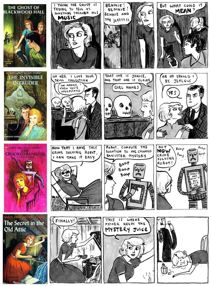 Corny Nancy Drew covers made funnier by K. Beaton on Hark! a vagrant (dot com)