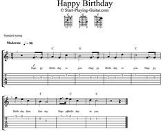 notes on guitar happy bithday | Happy Birthday Guitar Chords