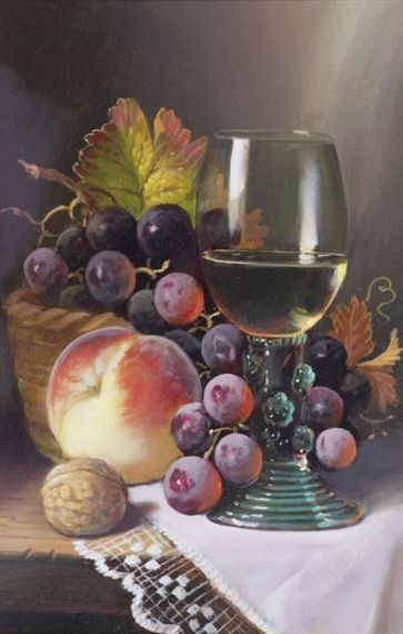 Artwork by Raymond Campbell, FRUIT & WINE, Made of Oil on Board