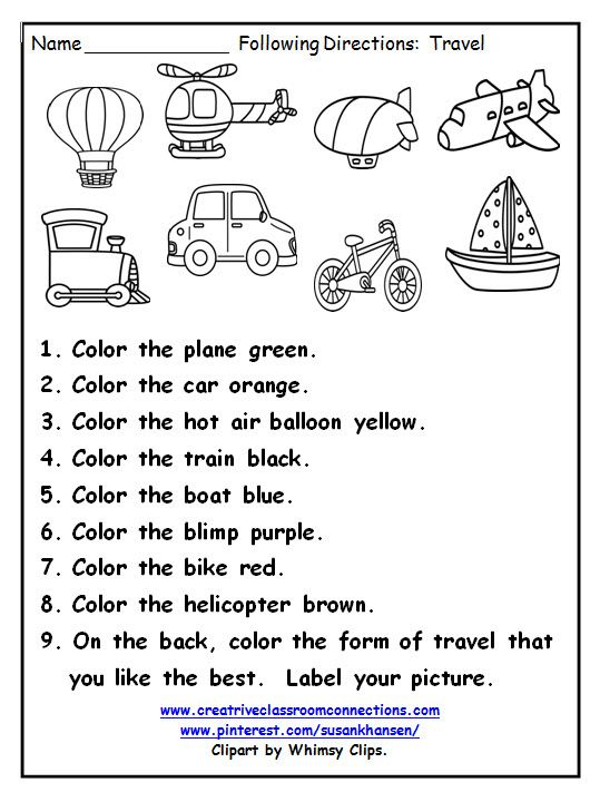 This great printable provides practice for students following directions and identifying ways to travel. View more at pinterest.com/susankhansen/