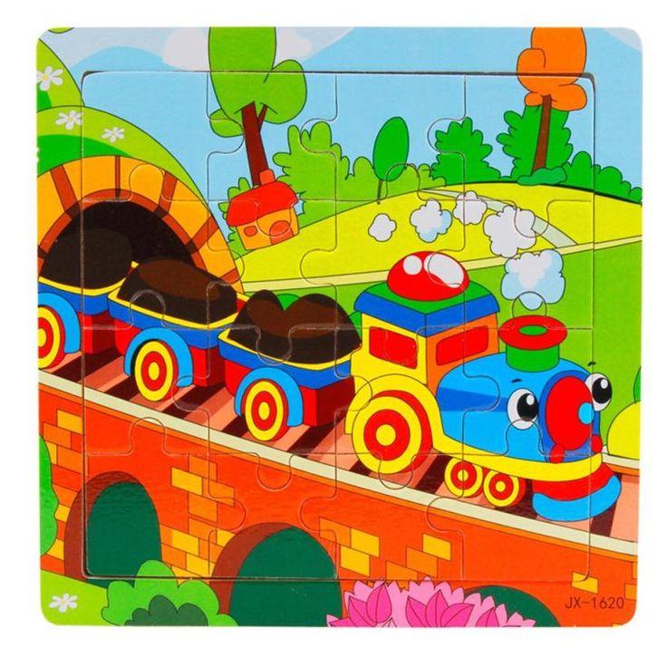 Colorido Tren de la Historieta De Madera Puzzle juguetes para Niños Kids Learning Juguetes educativos Rompecabezas Rompecabezas De Madera para niños
