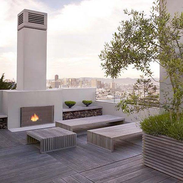 blasen modern landscape design -sublime roof terrace in beige grey tones
