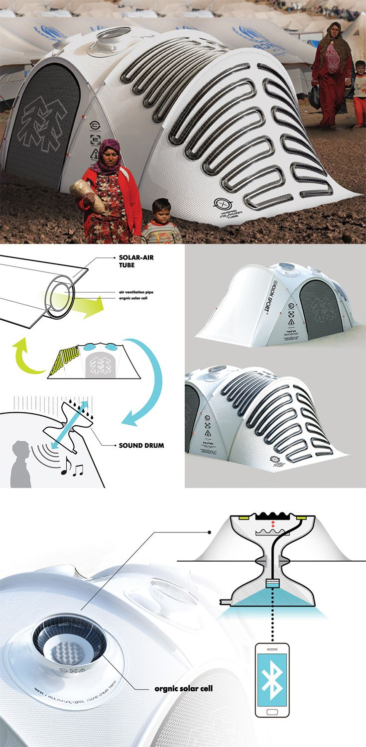 This 'new-generation outdoor tent' is a nature-interactive and energy-independent tent with two main parts: the Solar-Air Tube system that generates electricity, and creates airflow throughout the tent; and the Sound Drum which captures sounds to interact with nature even when inside... READ MORE at Yanko Design !
